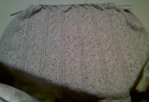 Afghan with diamond panels made up of knits and purls; seed stitch border.